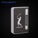 Focus Cigarette Case Dispenser with Butane Jet Torch Lighter (Holds 10) BLACK GOLF