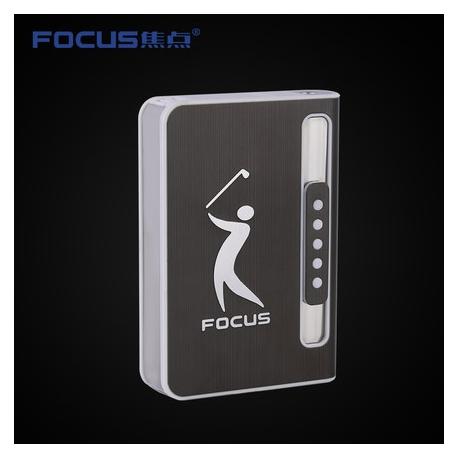 Focus Sigarett Tilfelle Dispenser med Butan Jet Torch Lettere (Har plass til 10) SVART