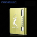 Focus Cigarette Case Dispenser with Butane Jet Torch Lighter (Holds 10) Gold GOLF
