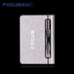 Focus Cigarette Case Dispenser with Butane Jet Torch Lighter (Holds 10) SILVER
