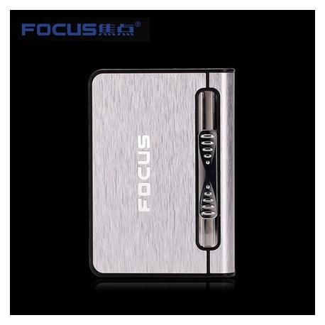 Focus Cigarette Case Dispenser with Butane Jet Torch Lighter (Holds 10) SILVER