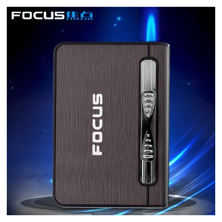 Focus Cigarette Case Dispenser with Butane Jet Torch Lighter (Holds 10) BLACK