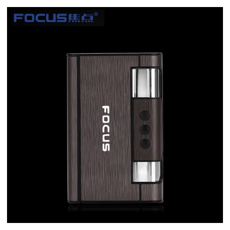 Focus Cigarette Case Dispenser with Butane Jet Torch Lighter (Holds 8) Black