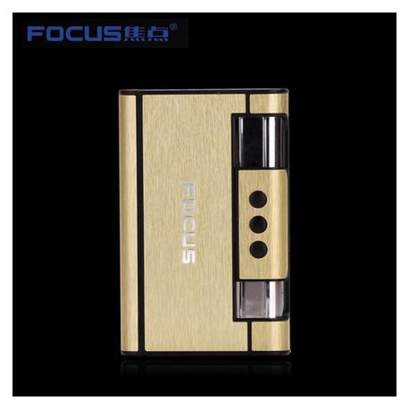 Focus Cigarette Case Dispenser with Butane Jet Torch Lighter (Holds 8) Gold