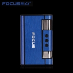 Focus Cigarette Case Dispenser with Butane Jet Torch Lighter (Holds 8) BLUE
