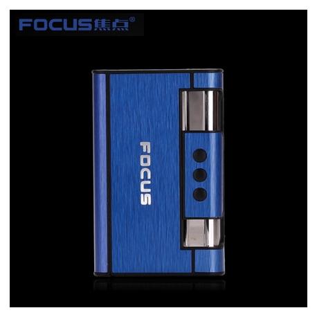 Focus Cigarette Case Dispenser with Butane Jet Torch Lighter (Holds 8) BLUE