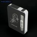 Focus USB-metall Cigarett Fallet med USB tändare Svart