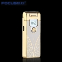 Focus intelligence plasma USB charge cigarette lighter with LED display Gold