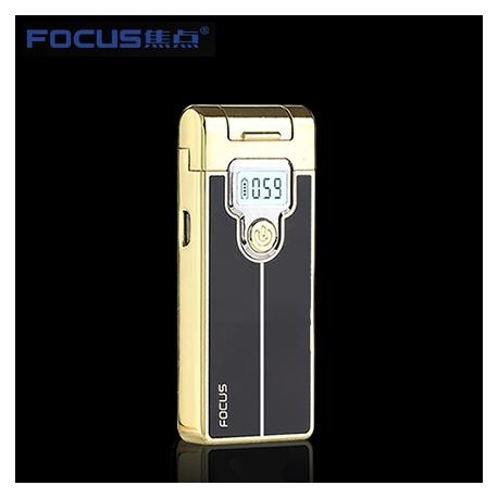 Focus intelligence plasma USB cigarette lighter with LED display Black and Gold